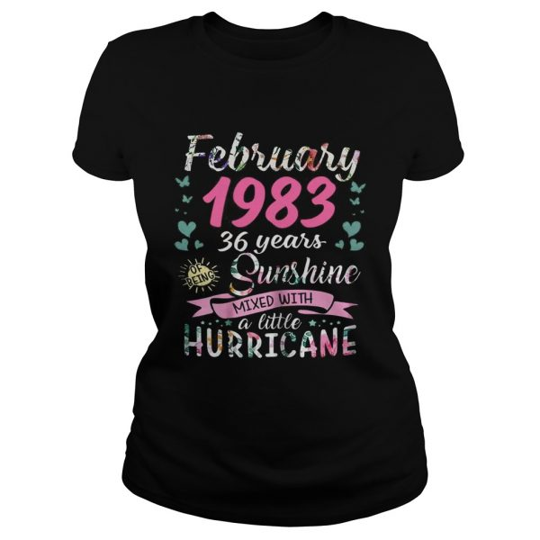 February 1983 36 years sunshine mixed with a little hurricane ladies tee