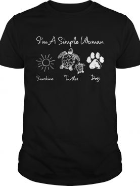 I'm a simple woman I love sunshine turtles and dogs shirt