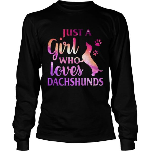 Just A Girl Who Loves Dachshund Colorful Gift longsleeve tee