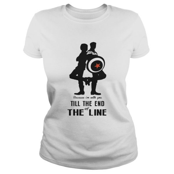 Captain America and Bucky Barnes because Im with you till the end of the line ladies tee