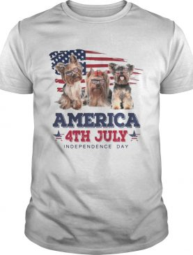 Cool Yorkshire Terrier America 4th July Independence Day T-shirt