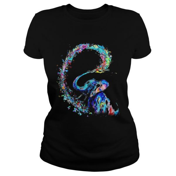 Elephant spraying rainbow ladies tee
