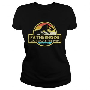 Fatherhood Like A Walk In The Park Sunset Retro ladies tee