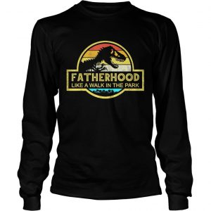 Fatherhood Like A Walk In The Park Sunset Retro longsleeve tee