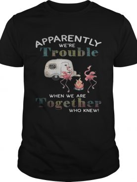 Flamingo camping Apparently we're trouble when we are together who knew shirt
