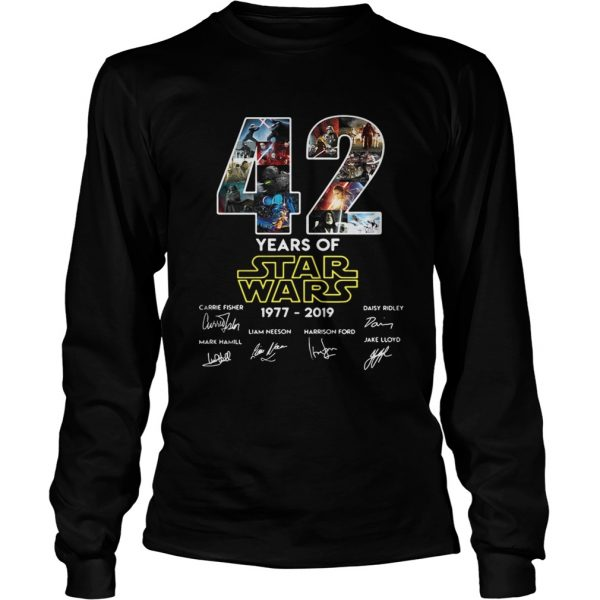 42 years of star wars 19772019 signatures longsleeve tee