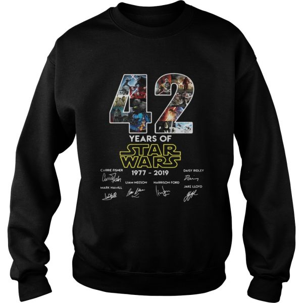 42 years of star wars 19772019 signatures sweatshirt