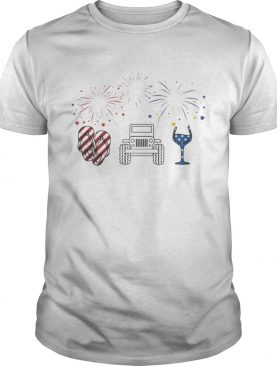 4th of July flip flops jeep and wine Firework shirt