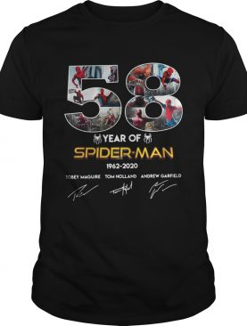 58 year of SpiderMan 19622020 Tobey Maguire Tom Holland Andrew Garfield shirt