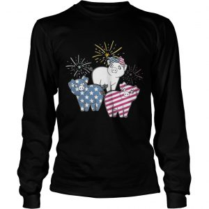 American Flag Pigs For Independence Day Funny longsleeve tee
