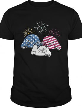 American Flag Sloths For Independence Day Funny T-shirts