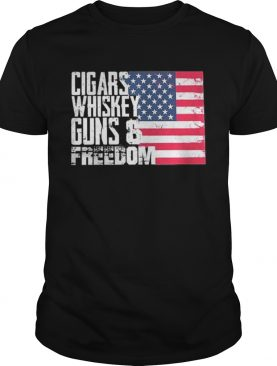 American flag Cigars whisky guns and freedom shirt