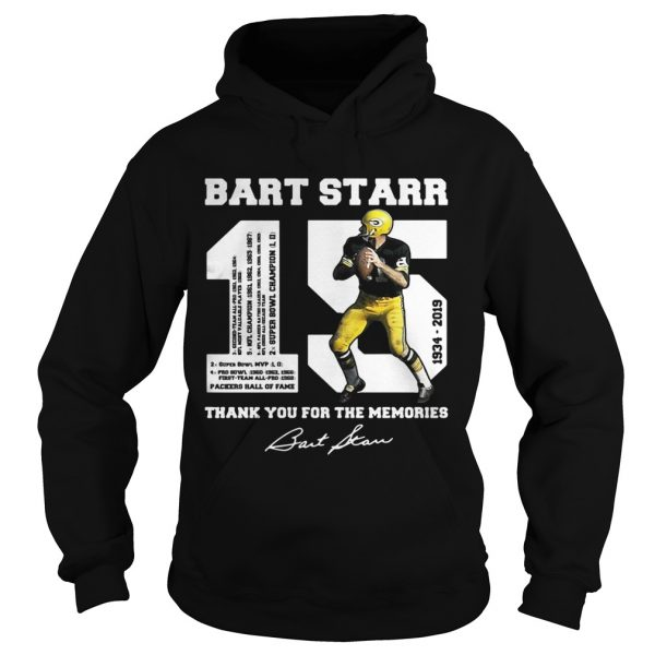 Bart Starr 15 19342019 thank you for the memories hoodie