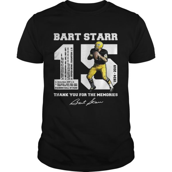 Bart Starr 15 19342019 thank you for the memories unisex