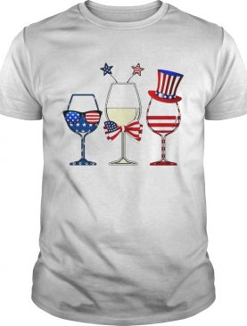Blue White Red Wine glasses 4th of July shirt
