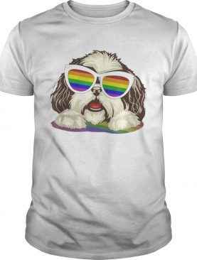 Original Shih Tzu Dog Gay Pride Flag Sunglasses LgbtDog Lovers Shirt