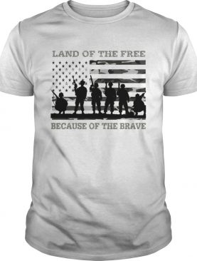 Veteran land of the free because of the brave American flag shirt