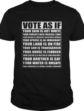 Vote as if your skin is not white your parents need medical care shirt