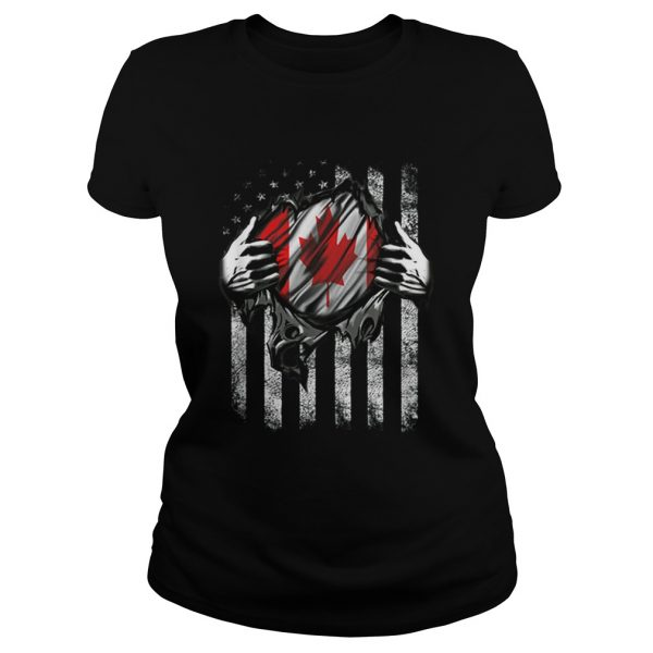 Canadian Blood Inside Me Canadian American Flag ladeis tee
