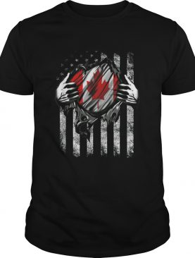 Canadian Blood Inside Me Canadian American Flag shirt