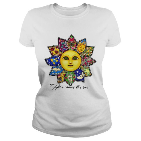 Here comes the sun flower ladeis tee