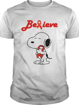 Snoopy Believe Bloold Cancer Red Awareness TShirt