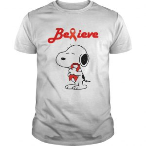 Snoopy Believe Bloold Cancer Red Awareness unisex