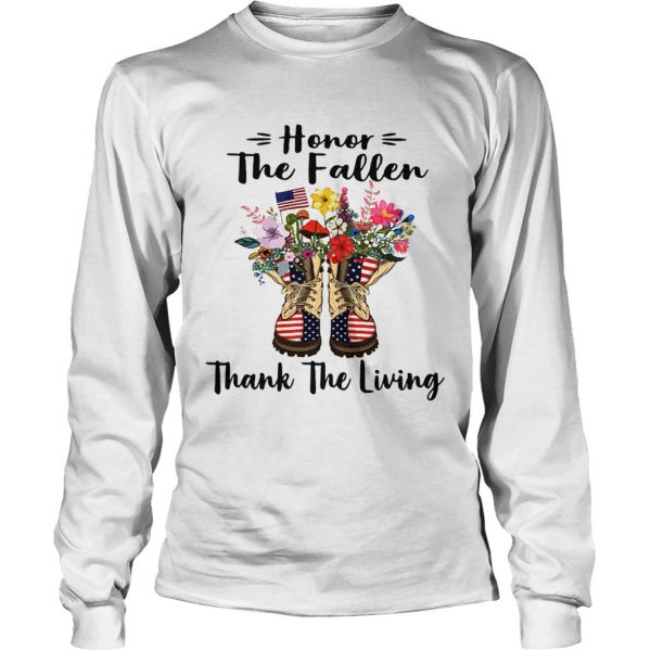Veteran boots flower honor the fallen thank the living 4th of July independence day longsleeve tee
