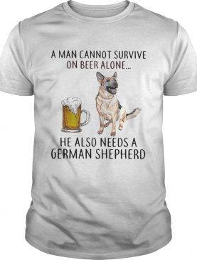 A man cannot survive on beer alone he also needs a German Shepherd shirt