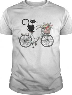 Cat black driving bicycle flower shirt