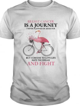 Flamingo breast cancer is a journey I never planned or asked for but I choose to love life hate the disease and fight shirt