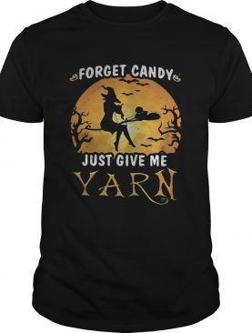 Forget candy just give me yarn Halloween moon shirt