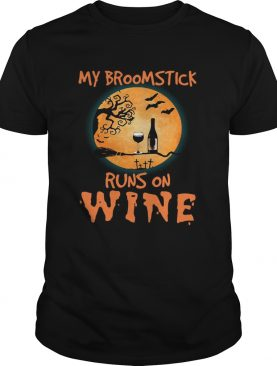 Halloween my broomstick runs on wine shirt