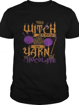 The witch can be bribed with yarn chocolate Halloween shirt