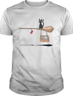 Black cat on broomstick not in service shirt