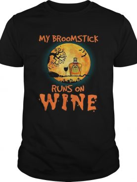 Halloween My broomstick runs on Crown Royal wine shirt