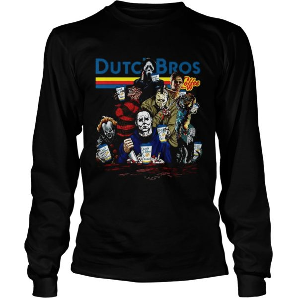 Horror Character movie Dutch Bros coffee longsleeve tee