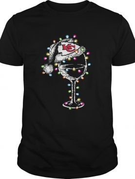 Kansas City Chiefs wine glass light christmas shirt