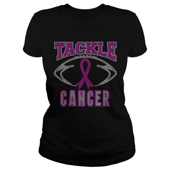 Breast cancer awareness rhinestone tackle football ladeis tee
