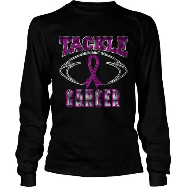 Breast cancer awareness rhinestone tackle football longsleeve tee