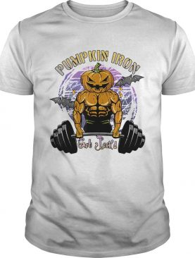 Funny Mens Halloween Gym Workout Pumpkin Iron shirt