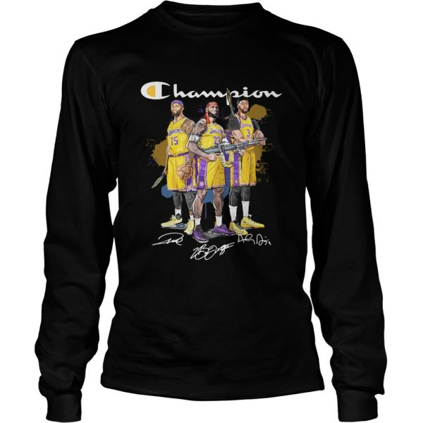 Angeles Lakers DeMarcus Cousins Anthony Davis LeBron James Champion signatures Shooter longsleeve tee