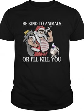 Santa claus and Cat Be Kind to animals or I'll kill you christmas sweater