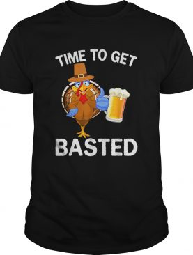 Hot Funny Time To Get Basted Beer Drinking Thanksgiving Turkey shirt