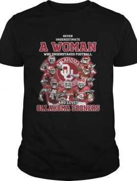 Never underestimate a woman who understands football and loves Oklahoma Sooners signatures shirt
