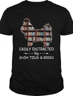 Easily Distracted By Shih Tzus And Books Crewneck Sweatshirt