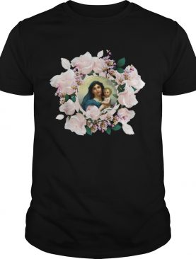 Blessed Mother Mary And Jesus Flowers shirt