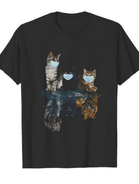 Cats Face Mask Water Reflection Tigers shirt