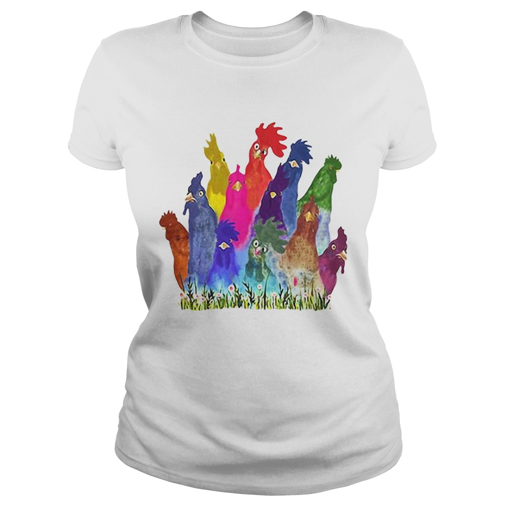 Chickens Watercolor  Classic Ladies