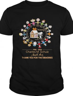 70th Peanuts 1950 2020 Charles M Schulz thank you for the memories signatures shirt